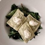 Maultaschen auf grünem Salatbett mit Essig-Senf Dressing.