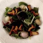 Junge Blattsalate mit Pfifferlingen, Thai Schalotten und Himbeer-Dressing.