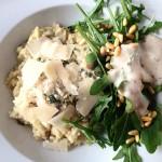 Pilz Risotto mit Thymian und Ruccola Salat.